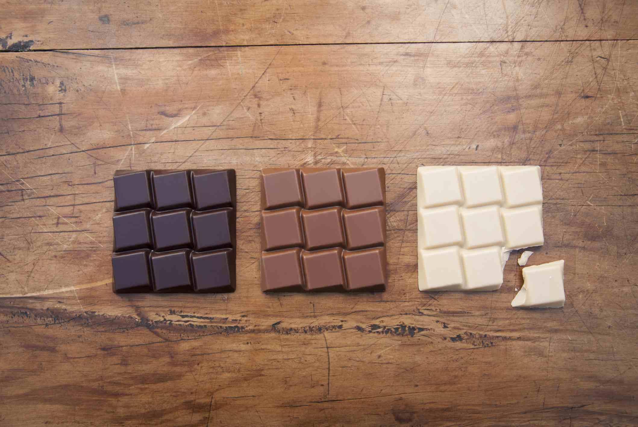 photo of three bars of chocolate, one dark, one milk, and one white