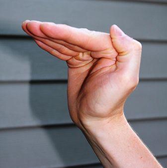hand demonstrating L position