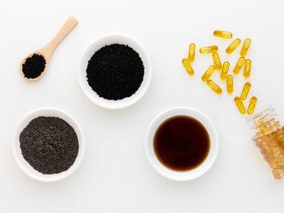 Nigella Sativa powder, capsules, seeds, and oil