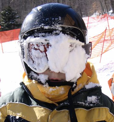 snow on goggles