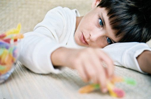 Boy alone with toys