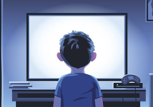 Illustration of a dark-haired child in front of a bright TV screen at night.