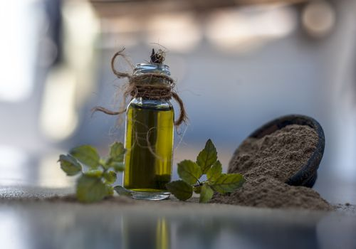 brahmi oil in a bottle