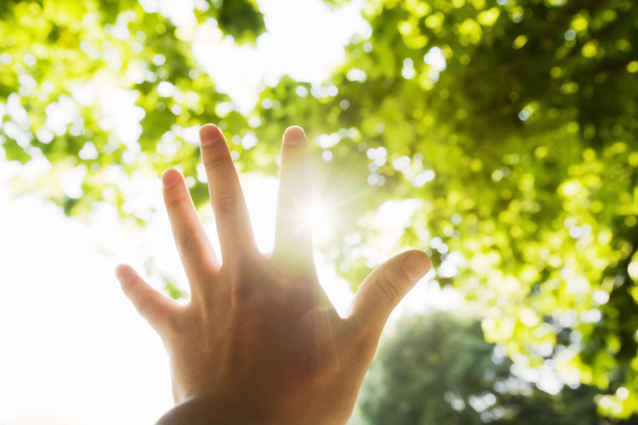 A hand reaching towards the sunlight