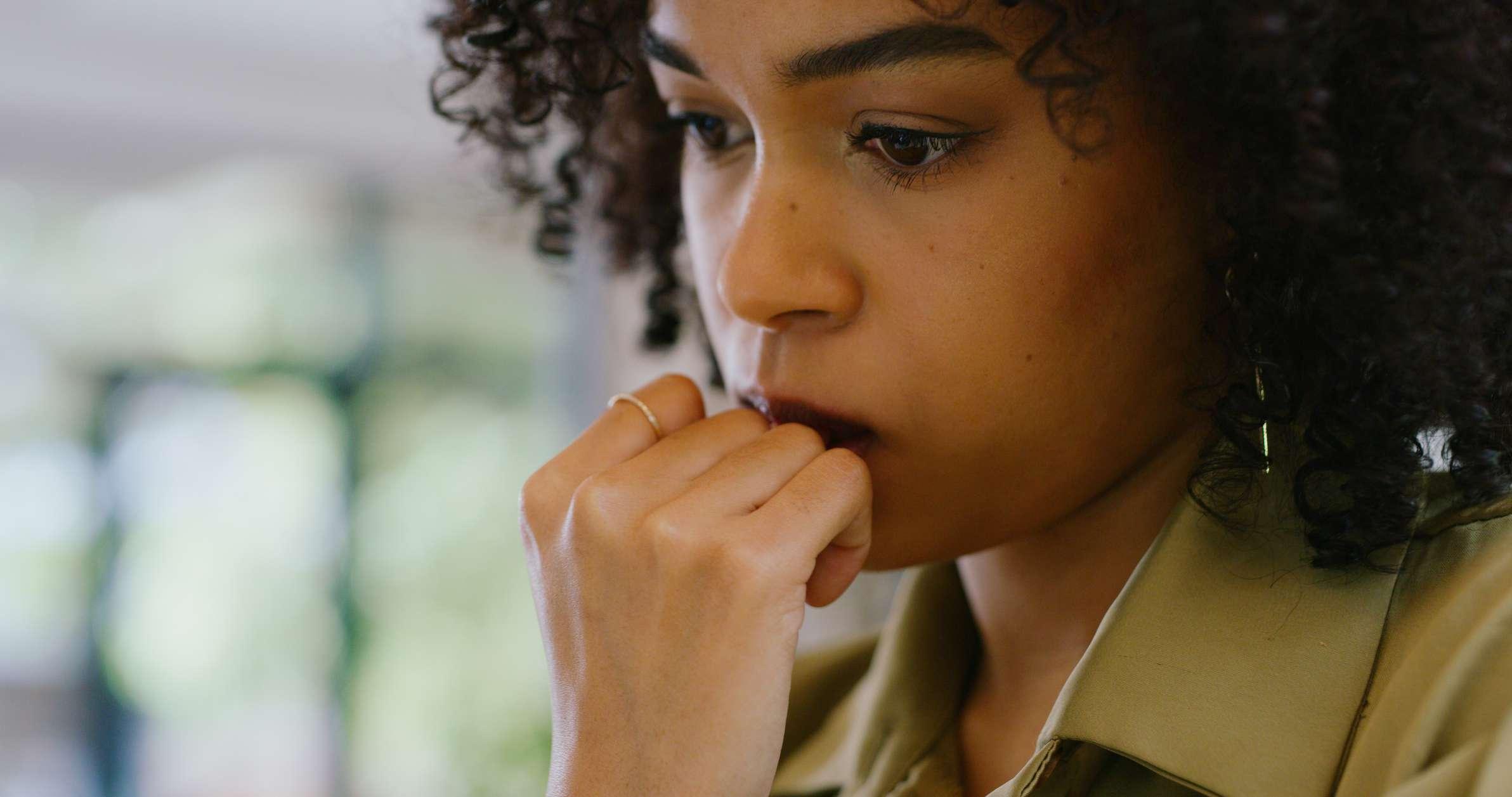Anxious person may be experiencing agoraphobia