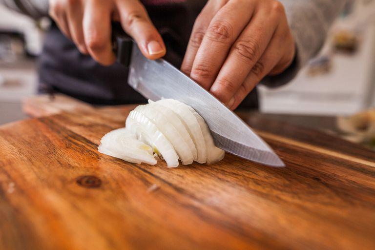 Chopping white onions