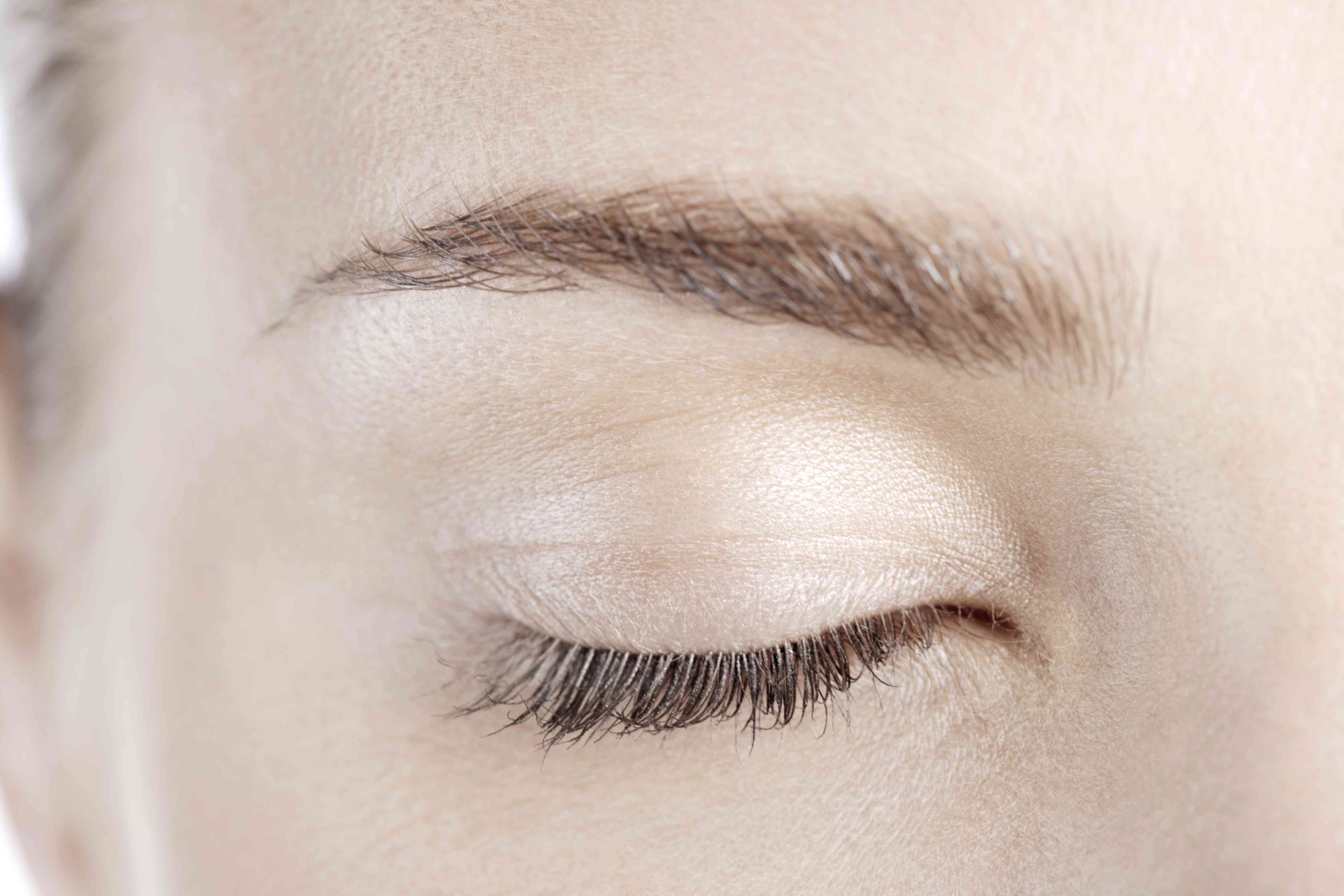 Close up of a person's closed eye