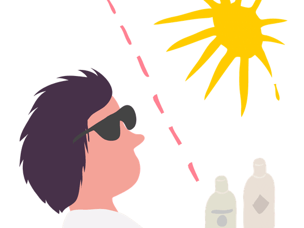 Harmful sun rays being blocked from man for skin cancer prevention