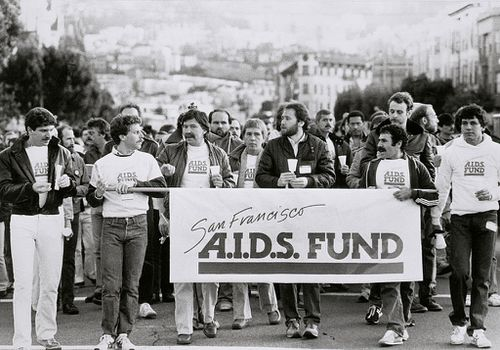 LGBTQ supporters march in San Francisco for AIDS awareness in 1983