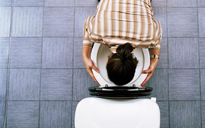 Young woman kneeling on floor, holding head in toilet, overhead view
