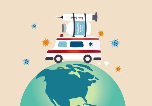 illustration of ambulance carrying vaccine around globe