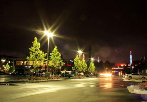 Street light glare at night