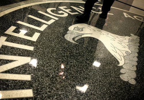 CIA logo on floor of CIA headquarters