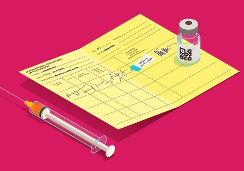 An illustration of a vaccine ampule, syringe, and yellow vaccination record card on a magenta background.