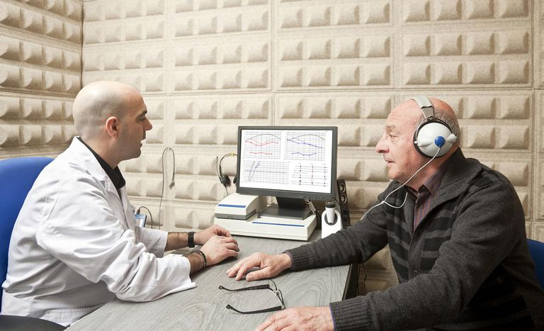 Audiologist giving senior man hearing exam