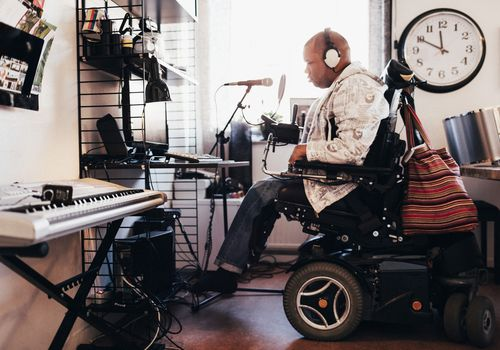 disabled man recording music