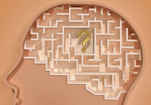 graphic of a maze in a brain with a question mark at center
