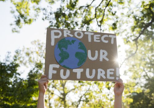 Protect our future climate change protest sign.