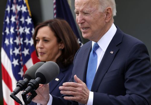 U.S. President Joe Biden delivers remarks on the COVID-19 response and vaccination program as Vice President Kamala Harris listens in the Rose Garden of the White House