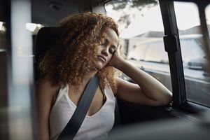 Sleepy teenager in car