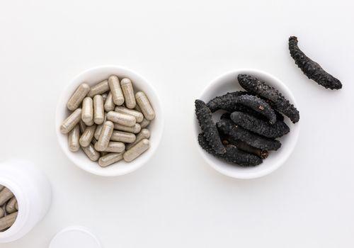 Dried sea cucumber and capsules