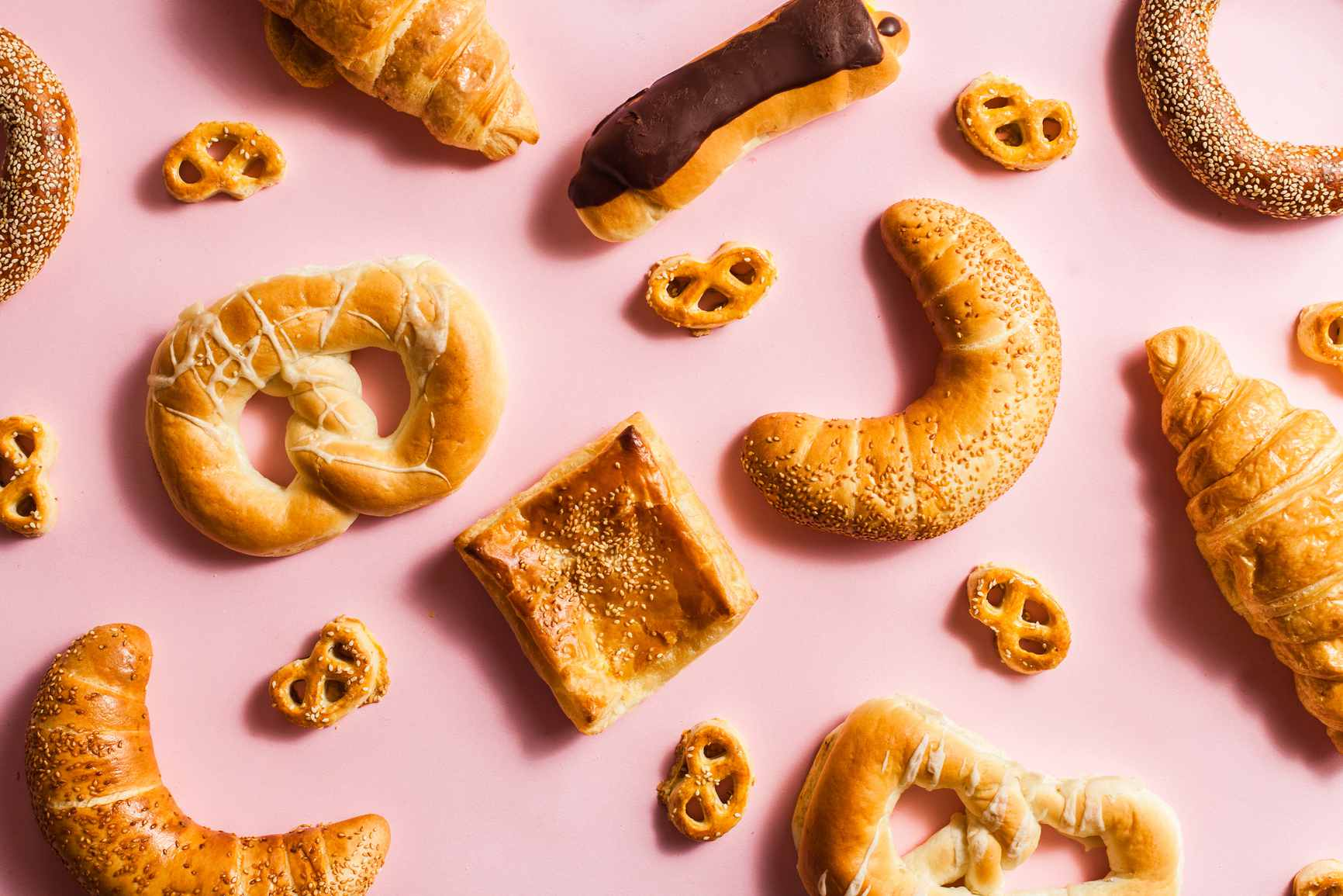 pretzles, bread, and other carb-filled pastries