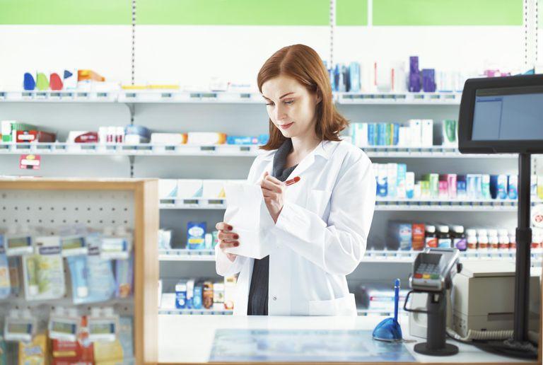 Pharmacist preparing a prescription