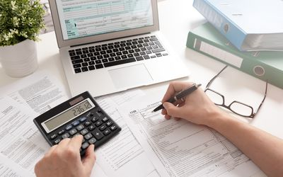 Accountant working with US tax forms