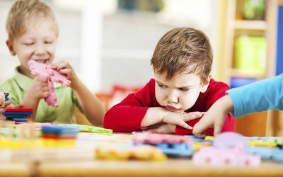 A preschooler having a tantrum.