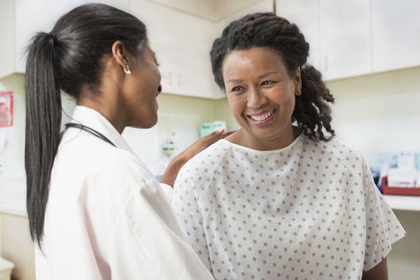 Woman talking with her doctor in the clinic