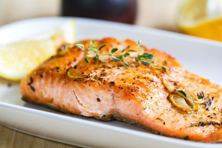 Grilled salmon for dinner.
