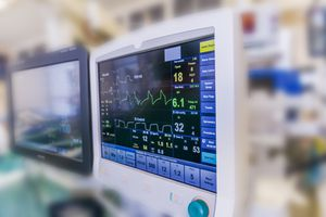 Monitors used during heart surgery.