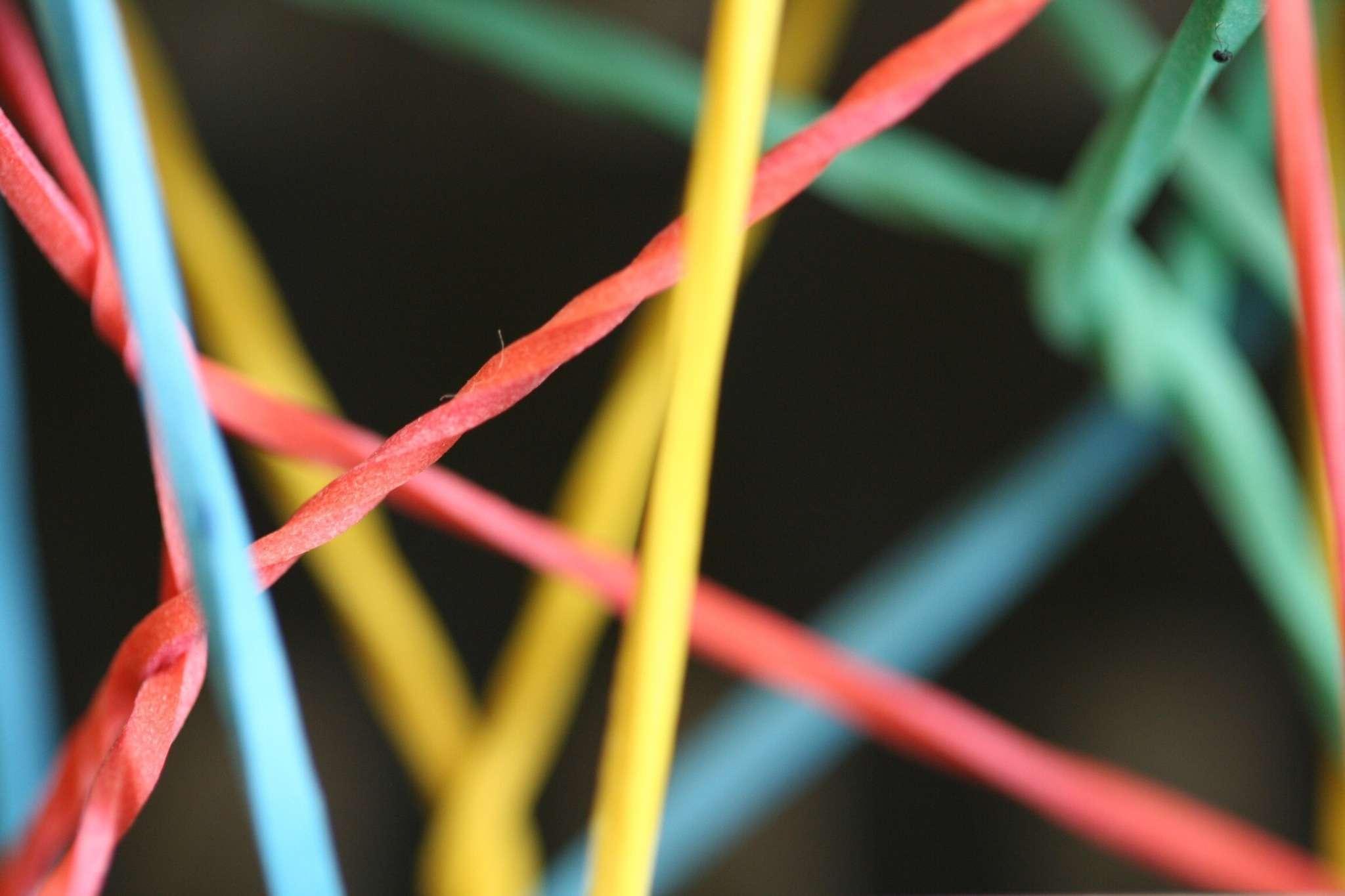 A multi-colored rubber band