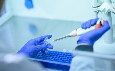 Vaccine development in a lab.
