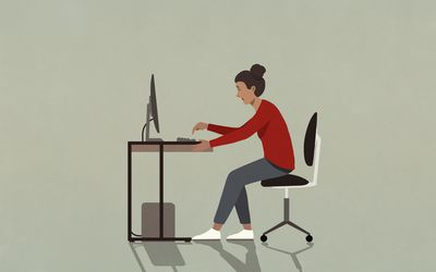 illustration of women stressed out and sitting at computer