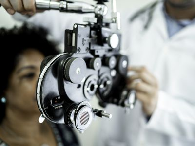 Mature women on a medical appointment with ophthalmologist