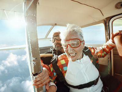 Senior tandem skydiving