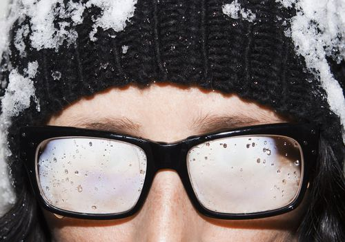a person with fogged up lenses