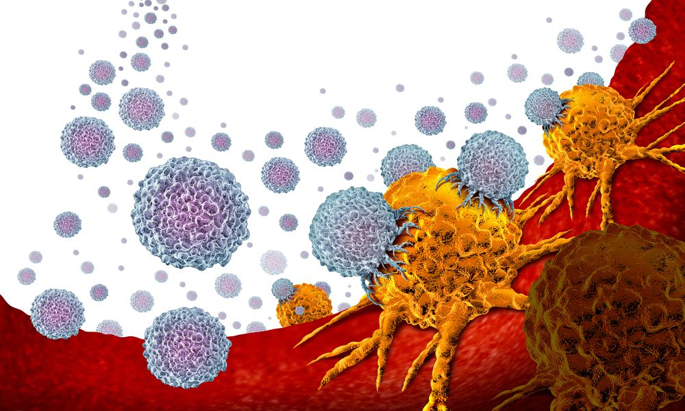 immune cells attacking cancer cells illustrating part of triplet therapy for melanoma