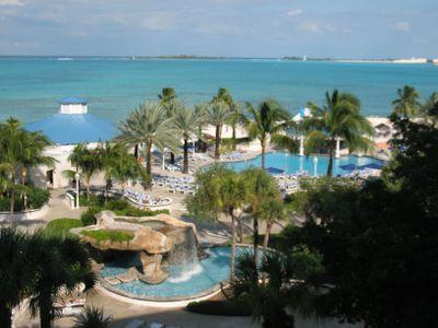 Swimming pools at the Sheraton Nassau Beach Resort at Cable Beach in Nassau, Bahamas.