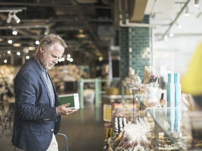 Man checking a label
