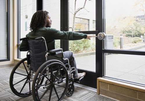 A man in wheelchair using automatic door