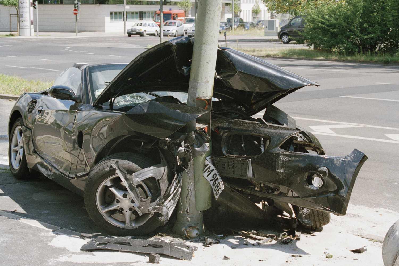 Car crashed into a pole