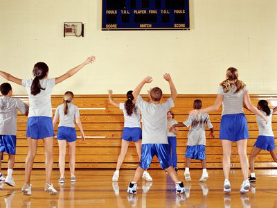 Group of teenagers (11-16) exercising at school gym, rear view