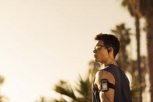 Man wearing sunglasses outside
