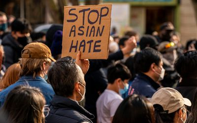 Anti-Asian violence protest sign.