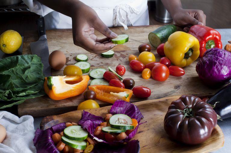 A table full of colorful, healthy foods