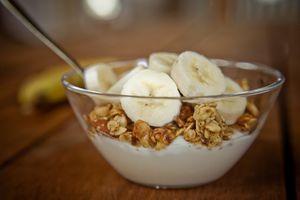 A bowl of yogurt and bananas