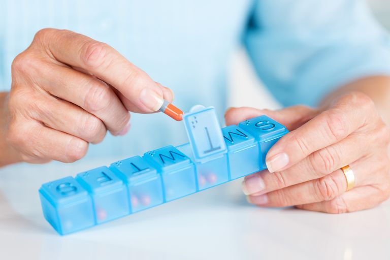 Woman taking her daily pills