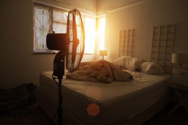 electric fan in bedroom